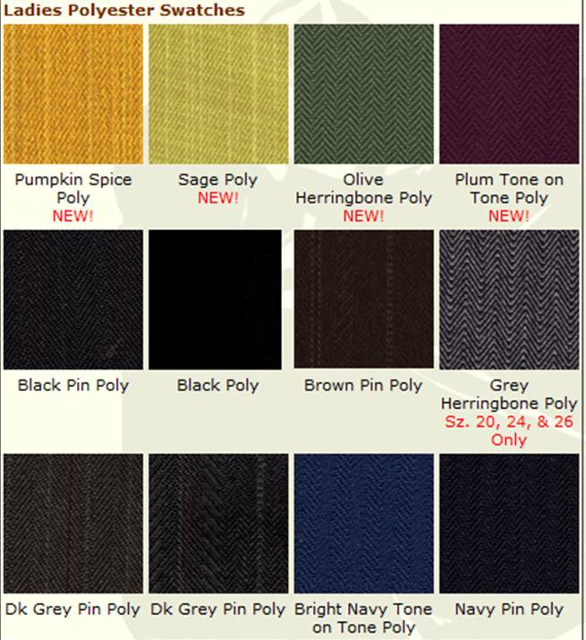 Reed Hill Poly Color chart
